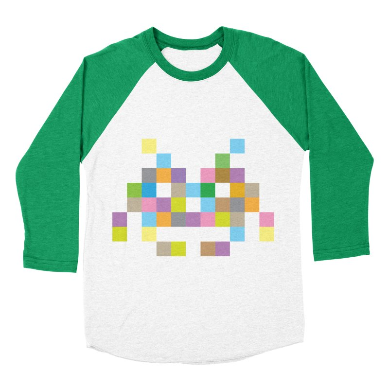 Pixel Face Women's Baseball Triblend Longsleeve T-Shirt by Teezinvaders
