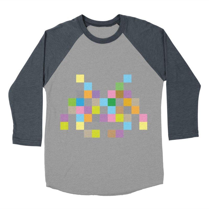 Pixel Face Men's Baseball Triblend Longsleeve T-Shirt by Teezinvaders
