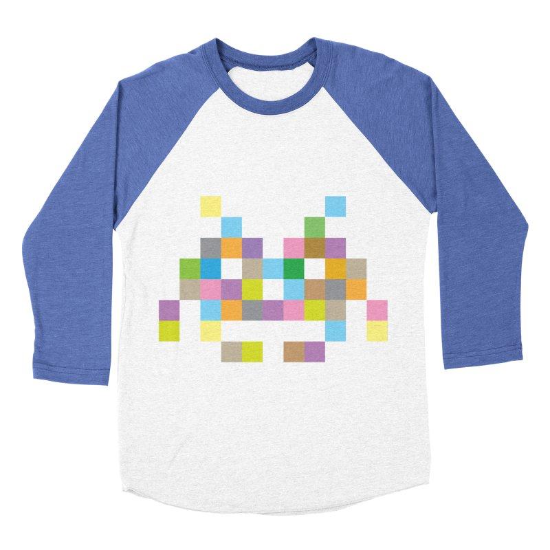 Pixel Face Men's Baseball Triblend T-Shirt by Teezinvaders