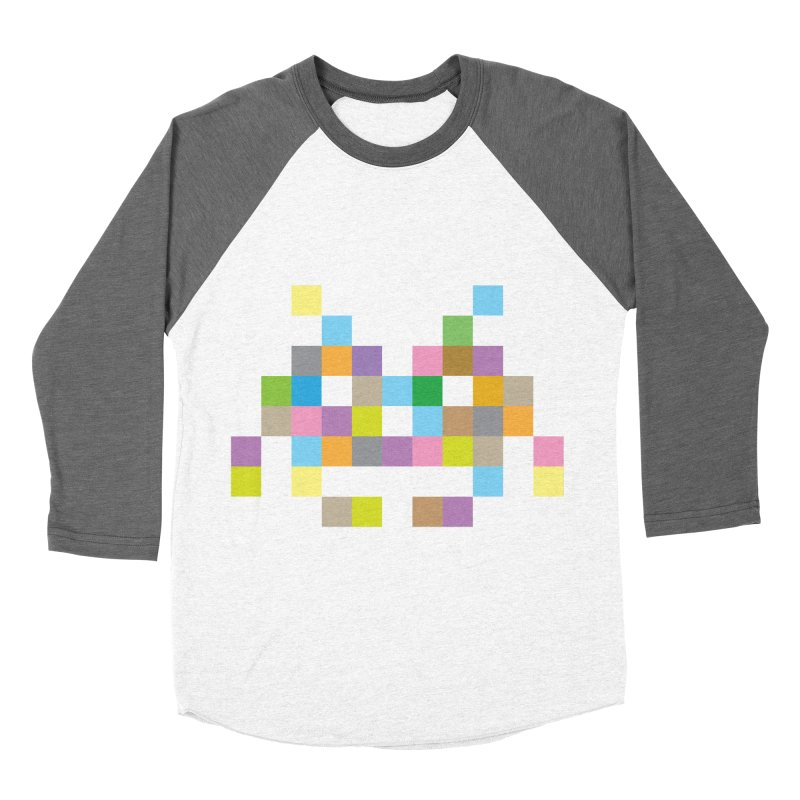 Pixel Face Men's Baseball Triblend T-Shirt by Teezinvaders