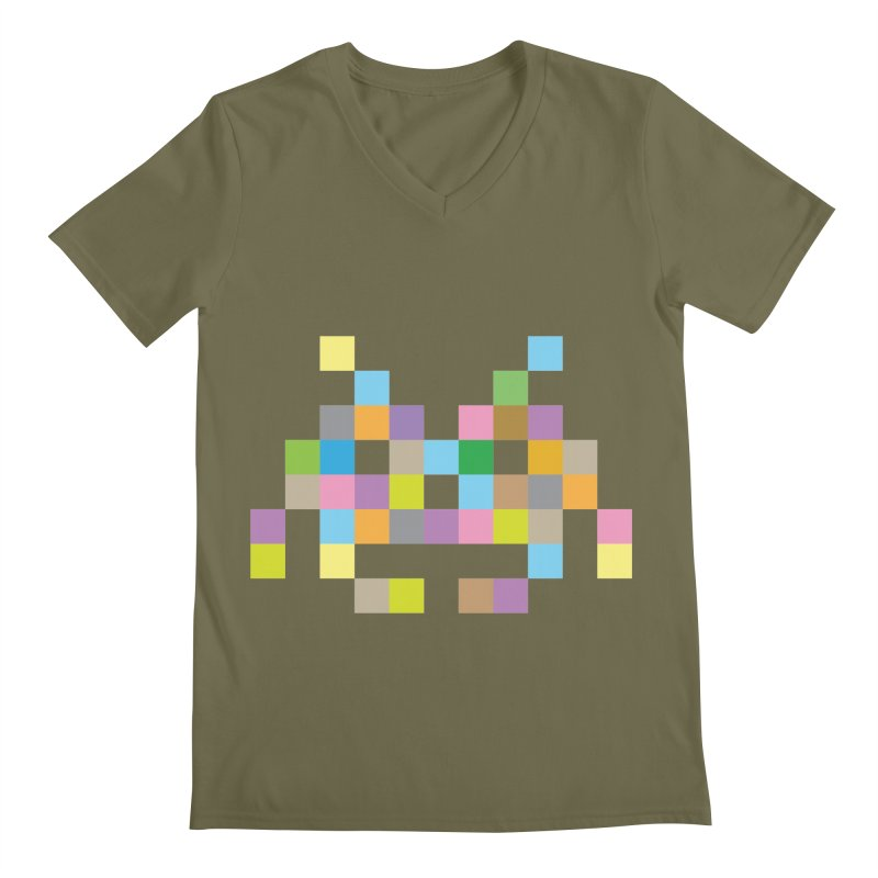 Pixel Face Men's Regular V-Neck by Teezinvaders