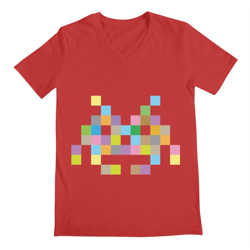 Pixel Face Men's V-Neck by Teezinvaders