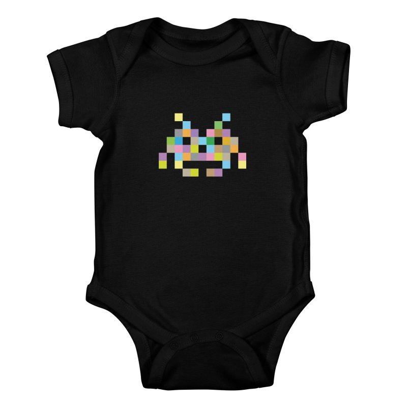 Pixel Face Kids Baby Bodysuit by Teezinvaders