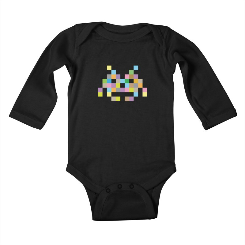 Pixel Face Kids Baby Longsleeve Bodysuit by Teezinvaders