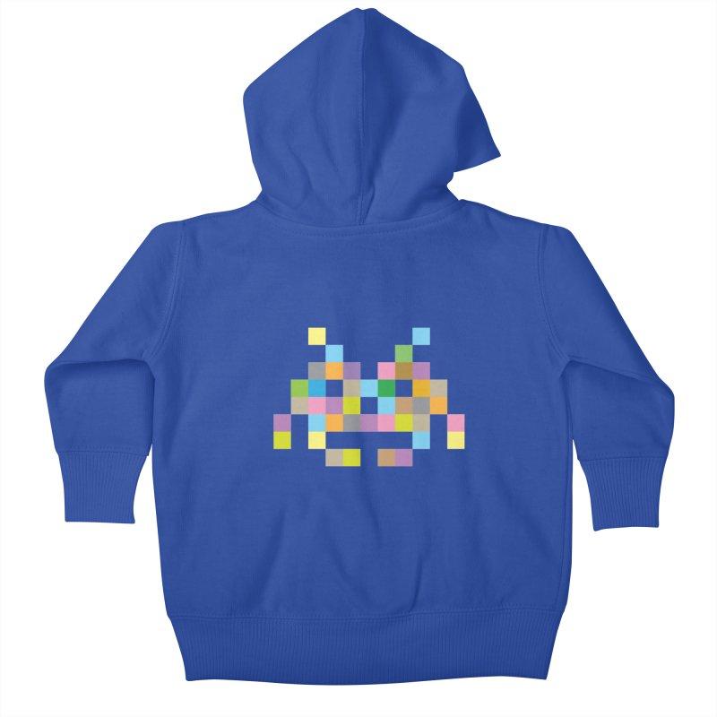 Pixel Face Kids Baby Zip-Up Hoody by Teezinvaders