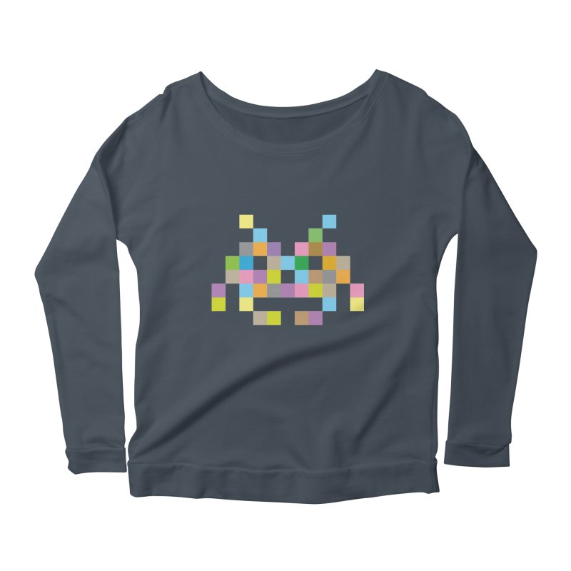 Pixel Face Women's Scoop Neck Longsleeve T-Shirt by Teezinvaders