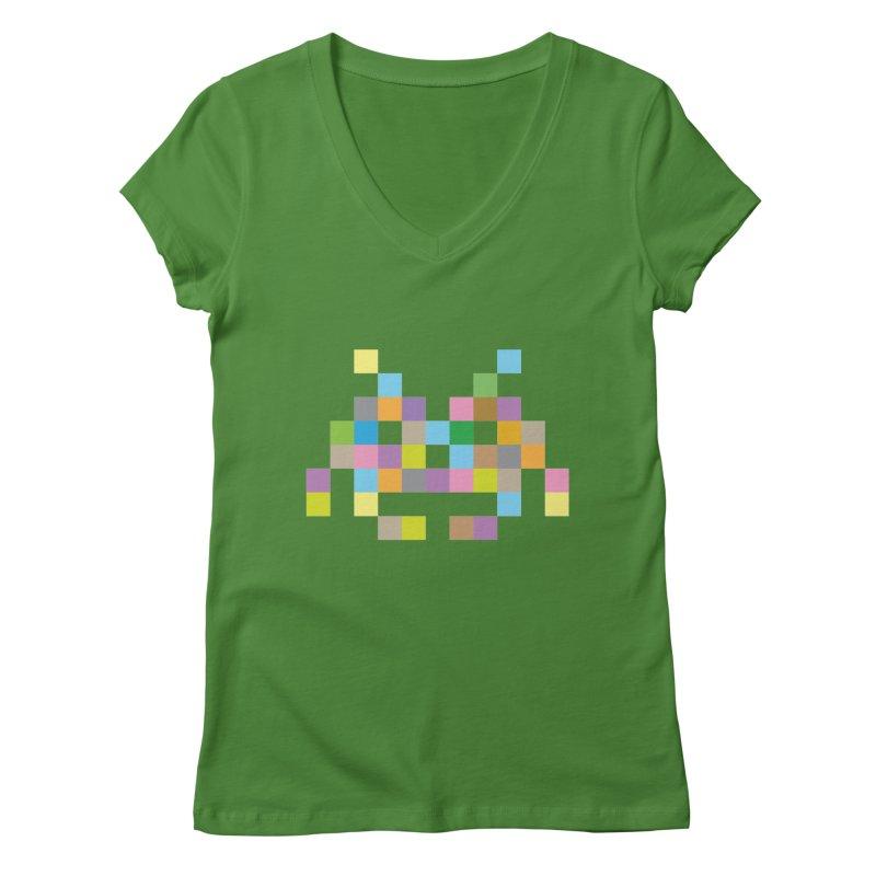 Pixel Face Women's Regular V-Neck by Teezinvaders