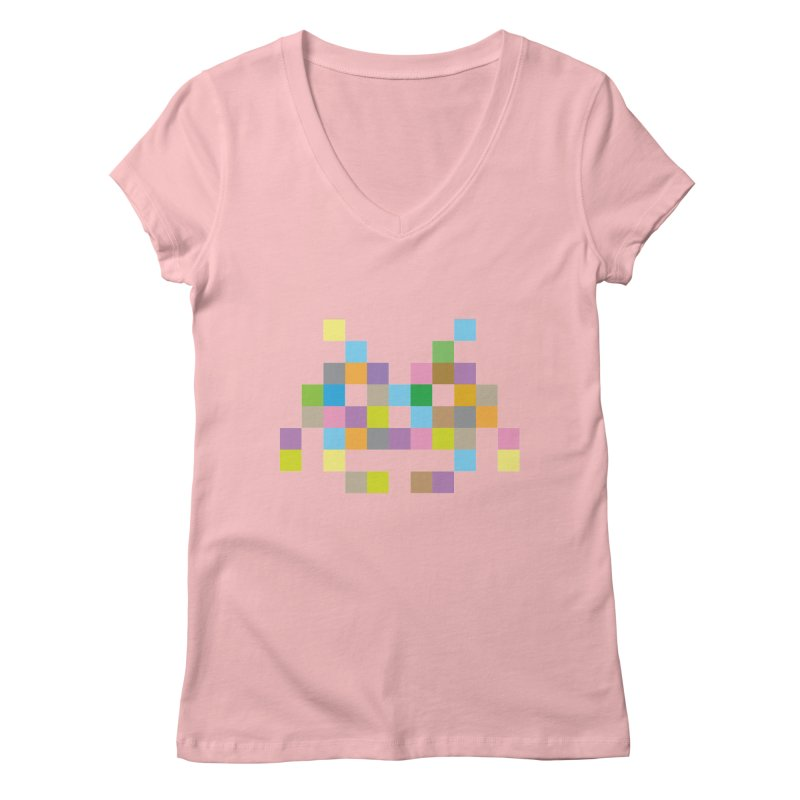 Pixel Face Women's V-Neck by Teezinvaders