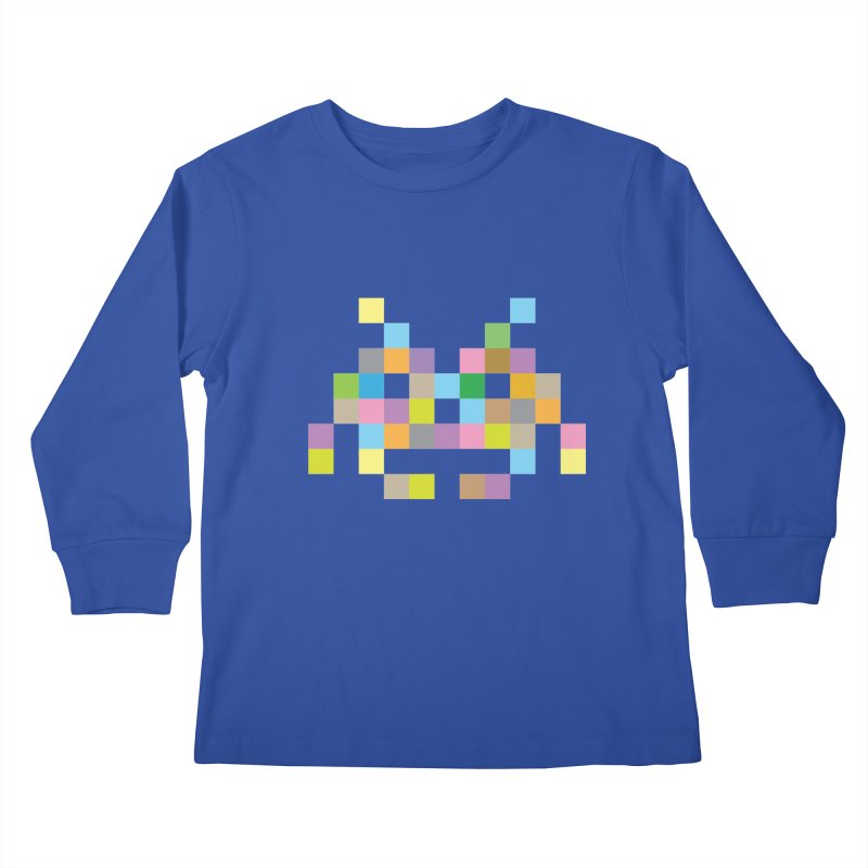 Pixel Face Kids Longsleeve T-Shirt by Teezinvaders