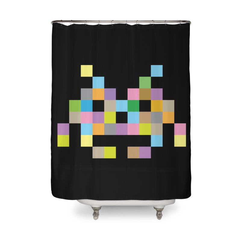 Pixel Face Home Shower Curtain by Teezinvaders