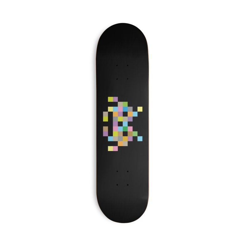 Pixel Face Accessories Skateboard by Teezinvaders