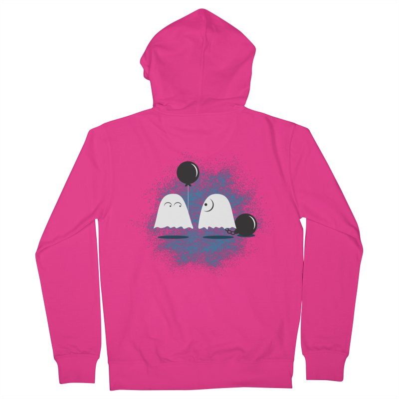 Lazy Ghost Men's French Terry Zip-Up Hoody by Teezinvaders