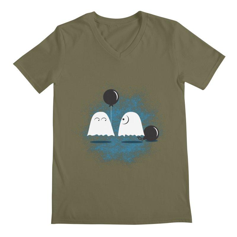 Lazy Ghost Men's Regular V-Neck by Teezinvaders