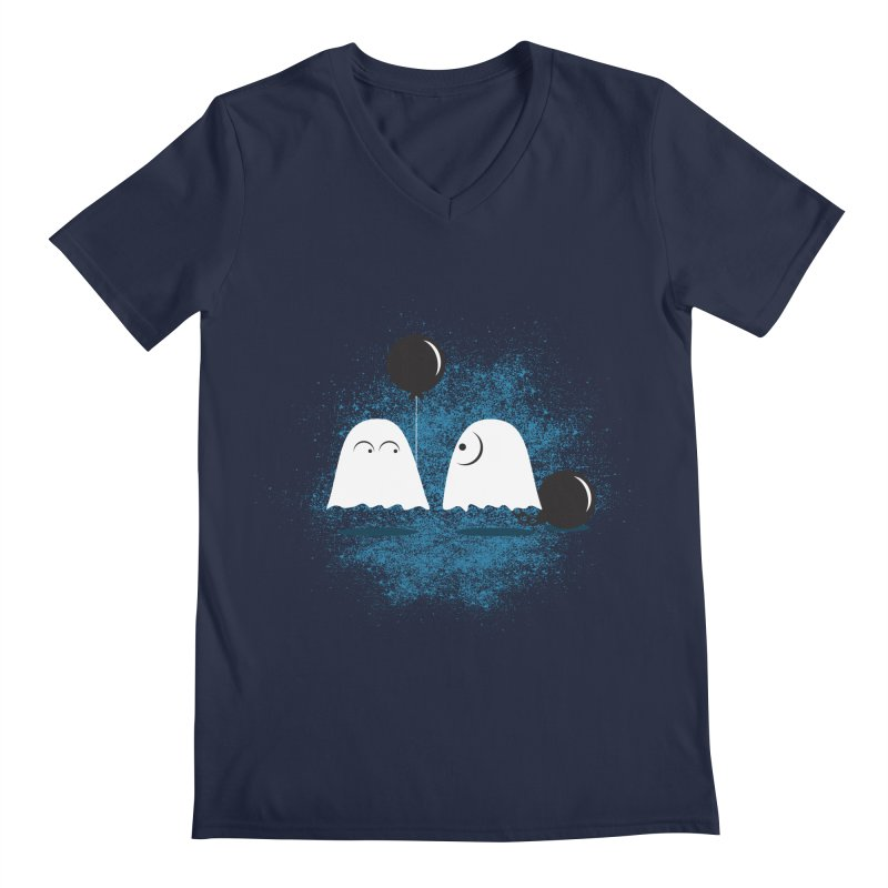 Lazy Ghost Men's V-Neck by Teezinvaders