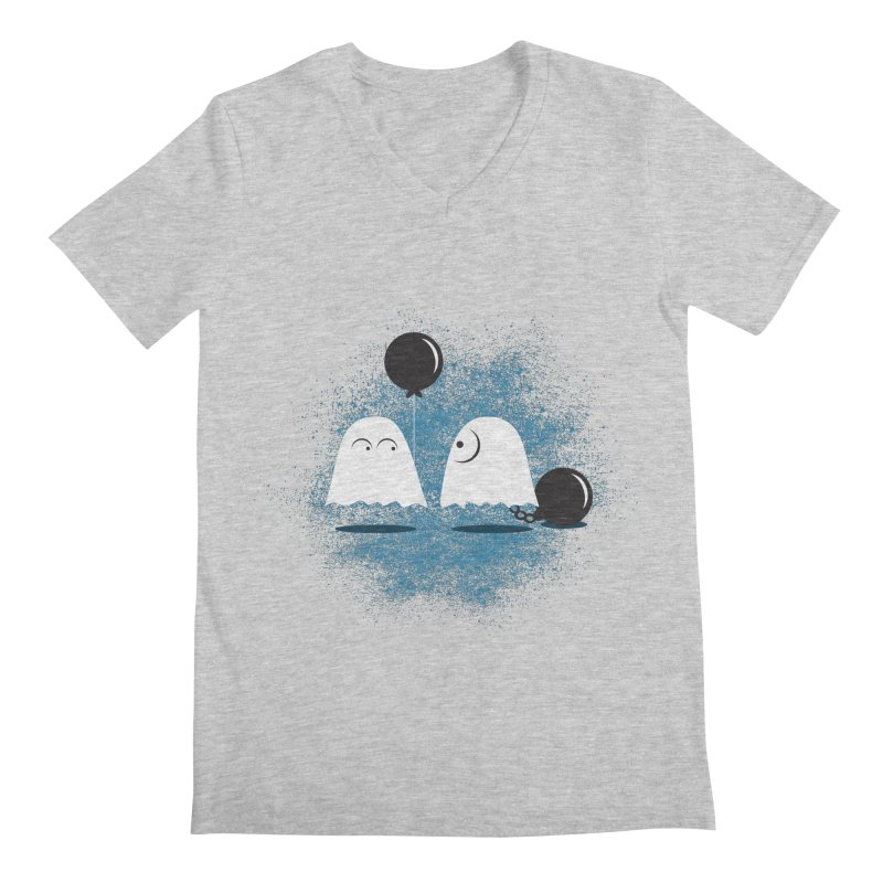 Lazy Ghost Men's Regular V-Neck by Teezinvaders
