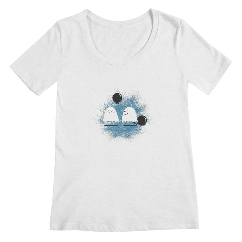 Lazy Ghost Women's Scoop Neck by Teezinvaders