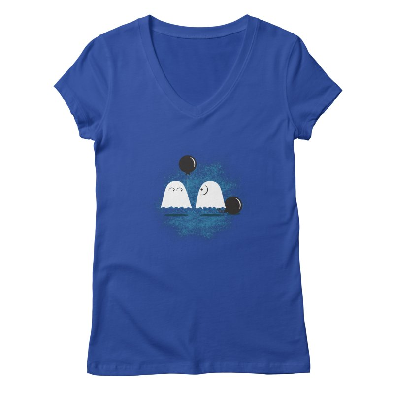 Lazy Ghost Women's V-Neck by Teezinvaders