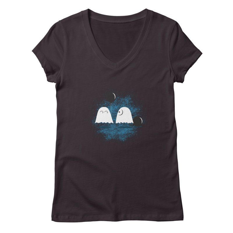 Lazy Ghost Women's Regular V-Neck by Teezinvaders