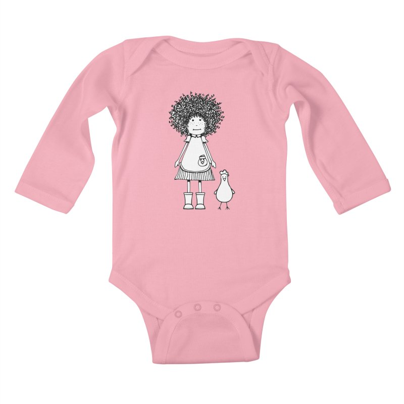 rose and the silly chicken in Kids Baby Longsleeve Bodysuit Light Pink by