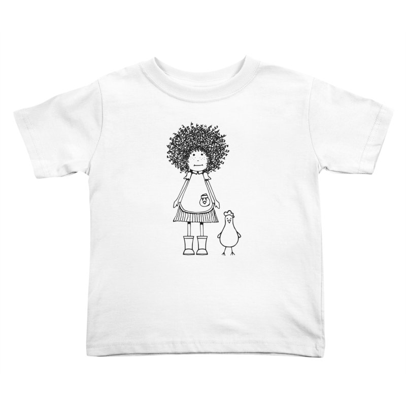 rose and the silly chicken in Kids Toddler T-Shirt White by