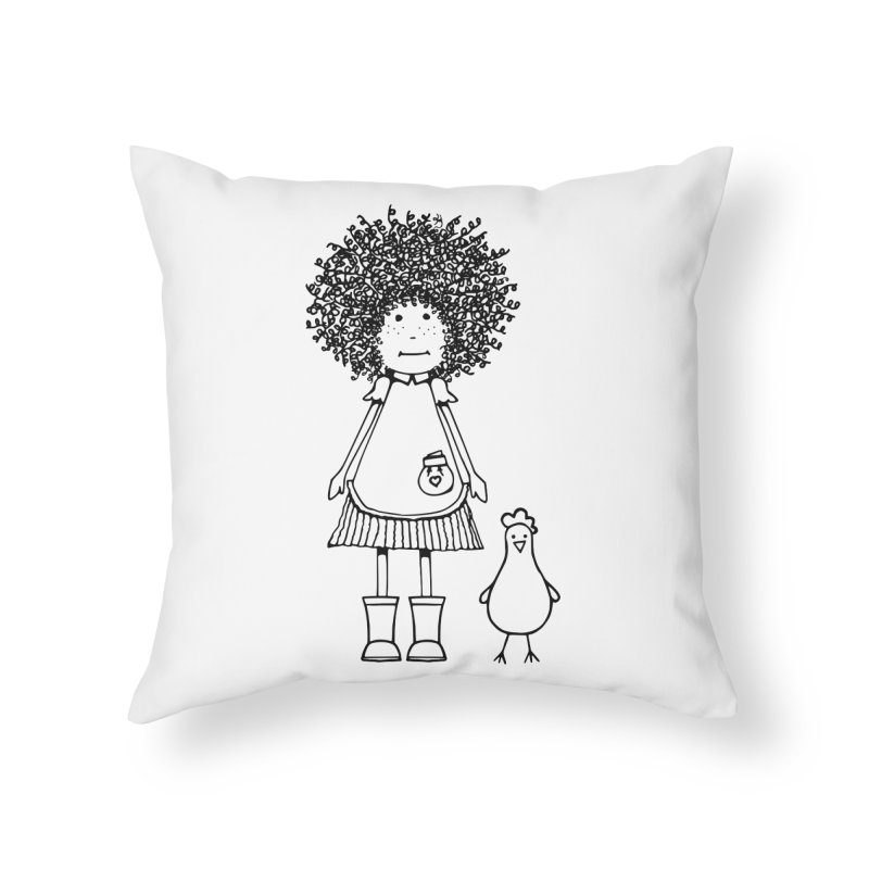 rose and the silly chicken Home Throw Pillow by