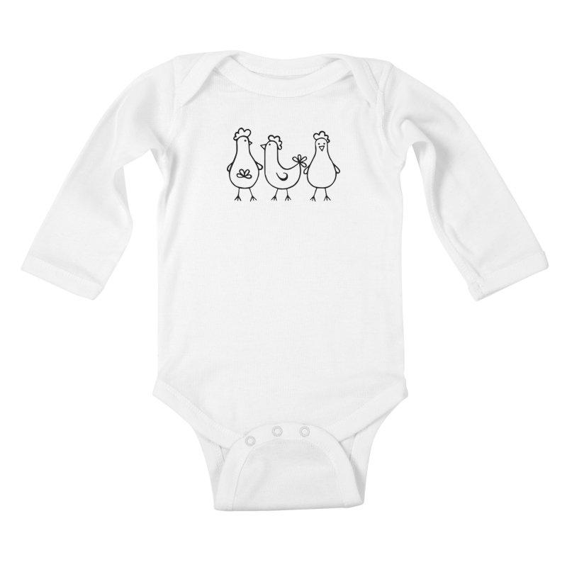 three chickens Kids Baby Longsleeve Bodysuit by