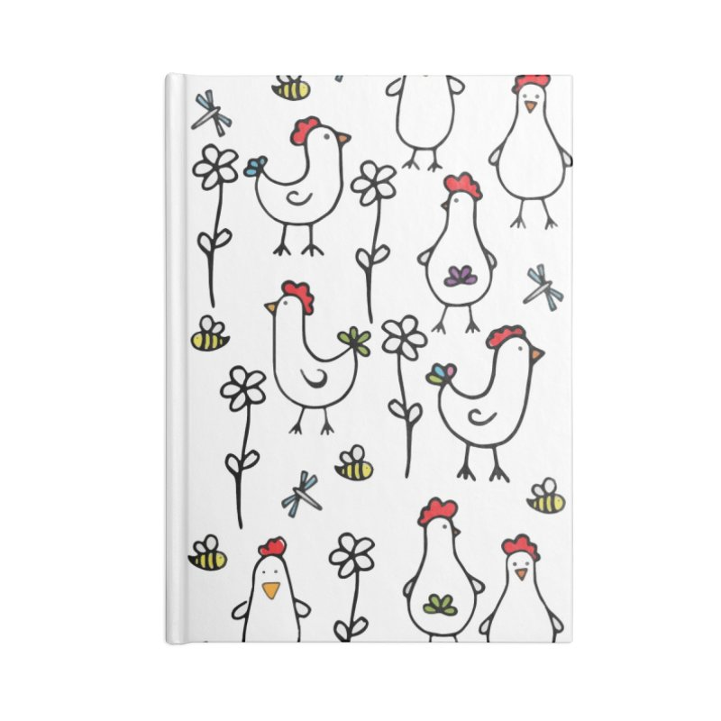 chickens, flowers and bugs everywhere Accessories Lined Journal Notebook by
