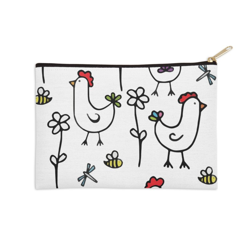 chickens, flowers and bugs everywhere Accessories Zip Pouch by
