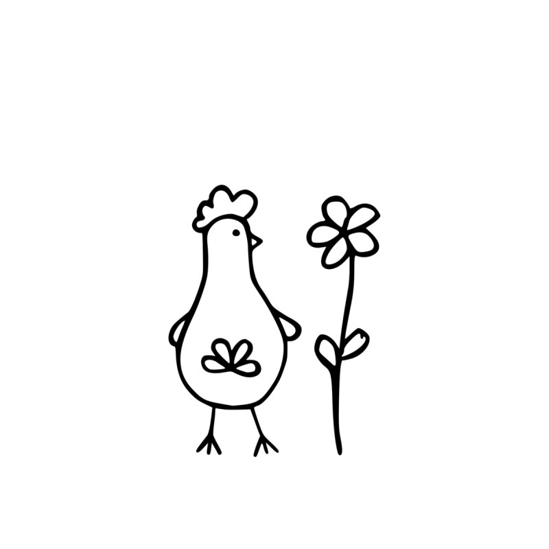 Chicken with flower, the tall one by