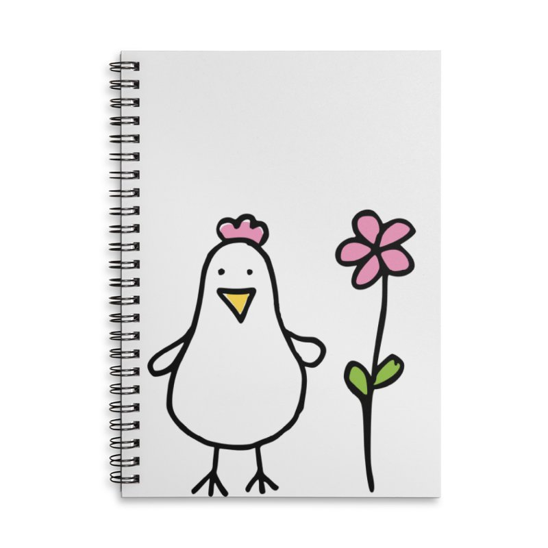 chicken in pink in Lined Spiral Notebook by