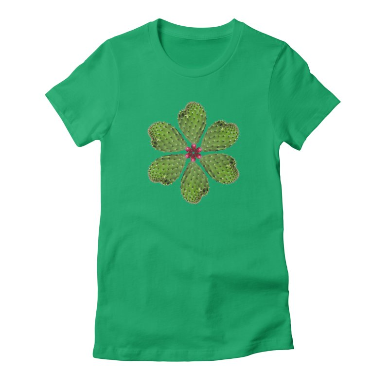 Cactus flower Women's Fitted T-Shirt by Tejedor shop