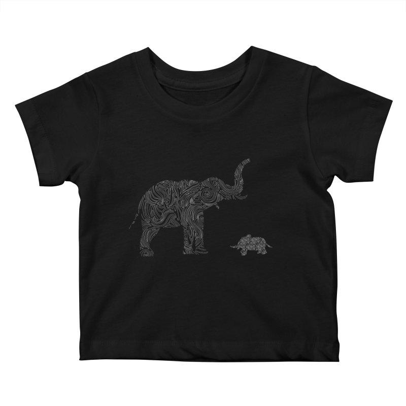 Elephants  Kids Baby T-Shirt by Tello Daytona's Artist Shop