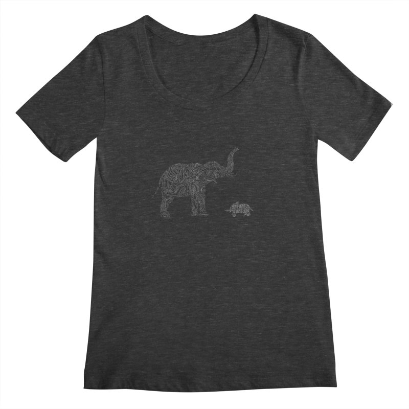 Elephants  Women's Scoopneck by Tello Daytona's Artist Shop