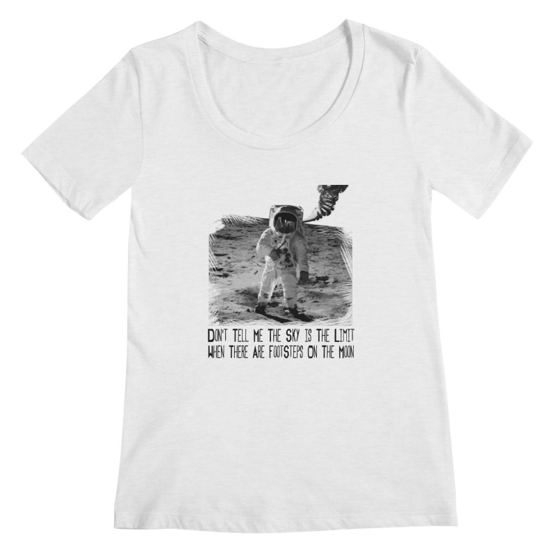 Footsteps on the Moon Women's Scoopneck by Tello Daytona's Artist Shop
