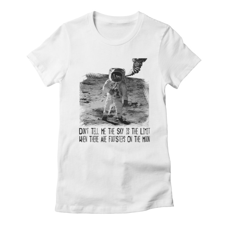 Footsteps on the Moon Women's Fitted T-Shirt by Tello Daytona's Artist Shop