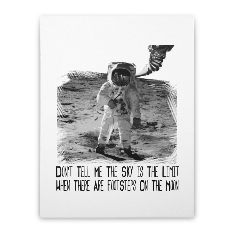 Footsteps on the Moon Home Stretched Canvas by Tello Daytona's Artist Shop