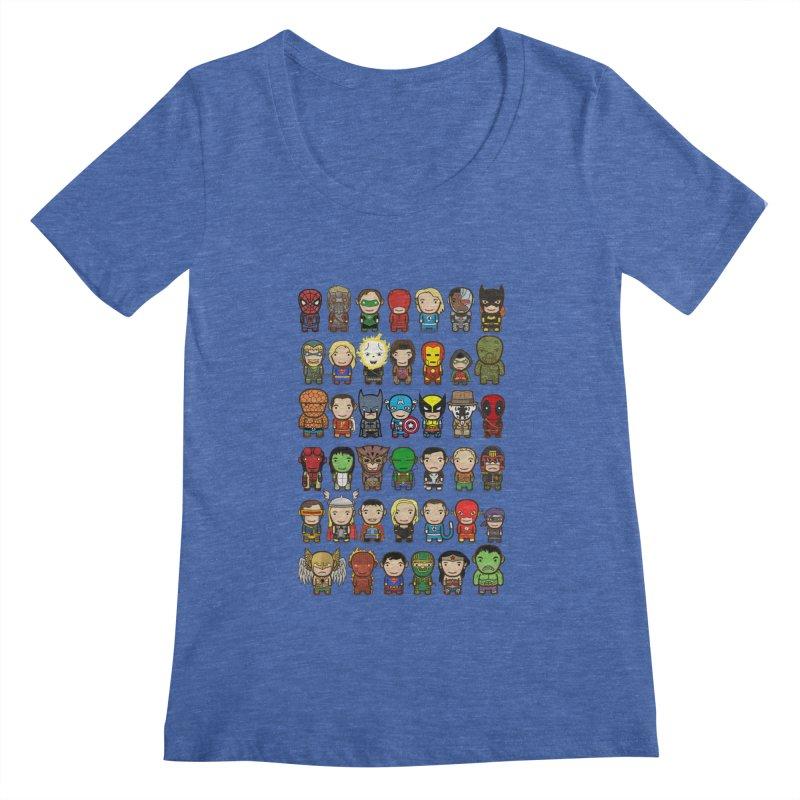 Heroes unite! Women's Scoopneck by StarryEyed's Artist Shop