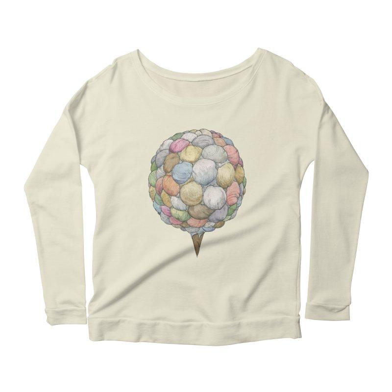 Ice Creams Cone Women's Scoop Neck Longsleeve T-Shirt by Scott Teplin's Chazerai Bazaar