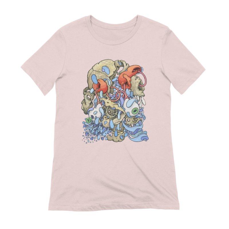 Blinky in Pacman's Stomach Women's Extra Soft T-Shirt by Scott Teplin's Chazerai Bazaar
