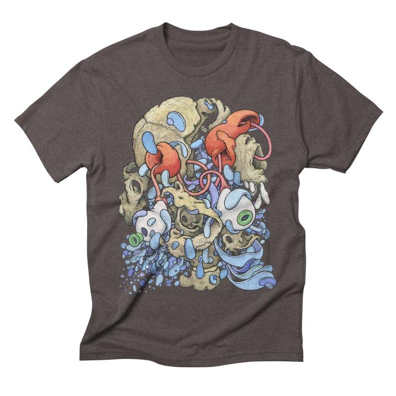 Blinky in Pacman's Stomach Men's Triblend T-Shirt by Scott Teplin's Chazerai Bazaar