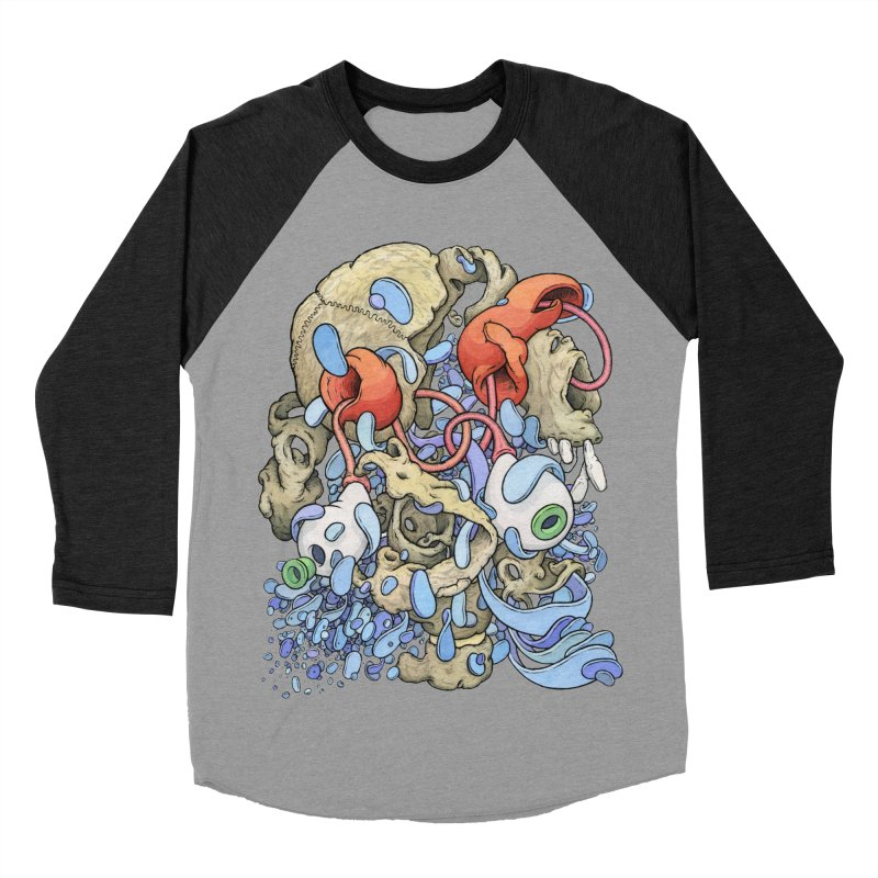 Blinky in Pacman's Stomach Women's Baseball Triblend Longsleeve T-Shirt by Scott Teplin's Chazerai Bazaar