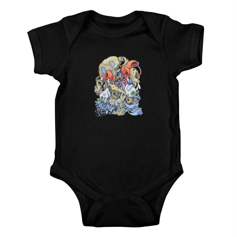 Blinky in Pacman's Stomach Kids Baby Bodysuit by Scott Teplin's Chazerai Bazaar