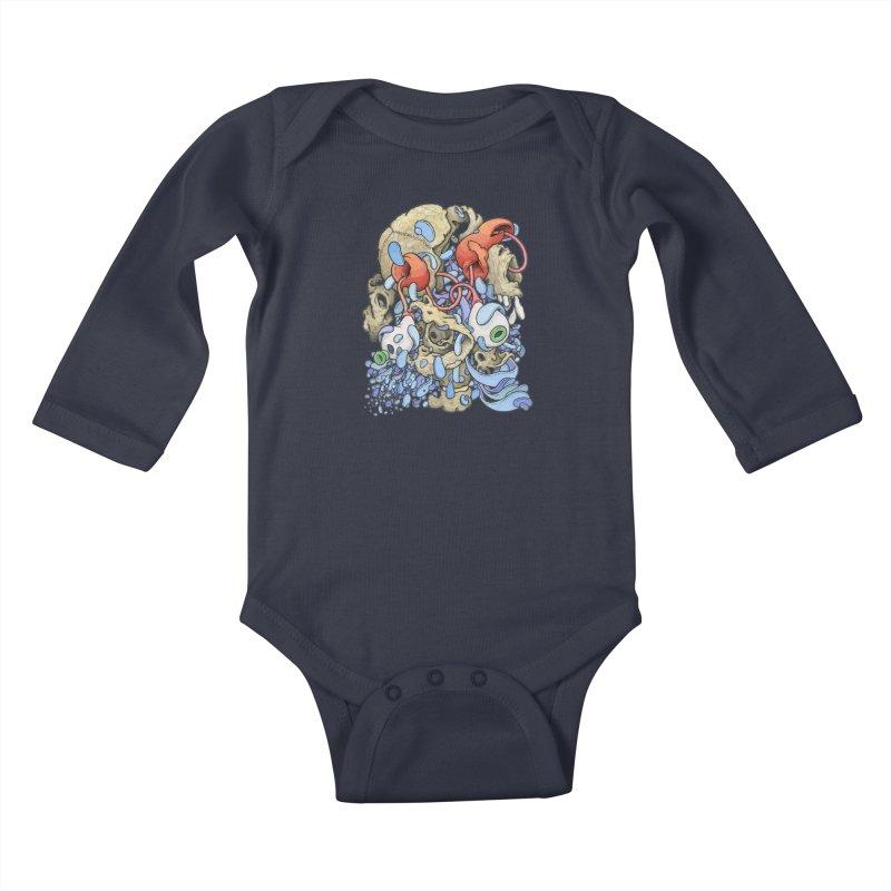 Blinky in Pacman's Stomach Kids Baby Longsleeve Bodysuit by Scott Teplin's Chazerai Bazaar