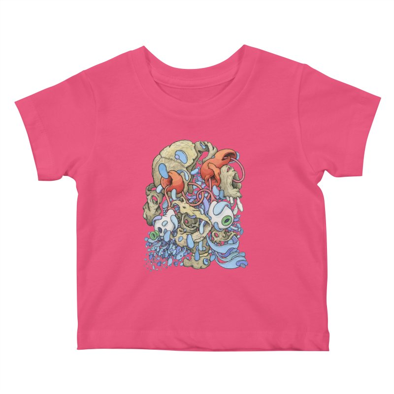 Blinky in Pacman's Stomach Kids Baby T-Shirt by Scott Teplin's Chazerai Bazaar