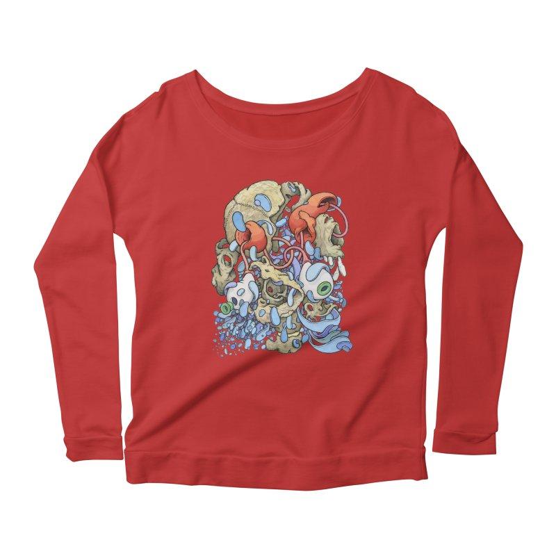 Blinky in Pacman's Stomach Women's Scoop Neck Longsleeve T-Shirt by Scott Teplin's Chazerai Bazaar