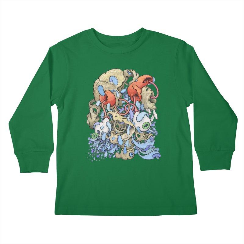 Blinky in Pacman's Stomach Kids Longsleeve T-Shirt by Scott Teplin's Chazerai Bazaar