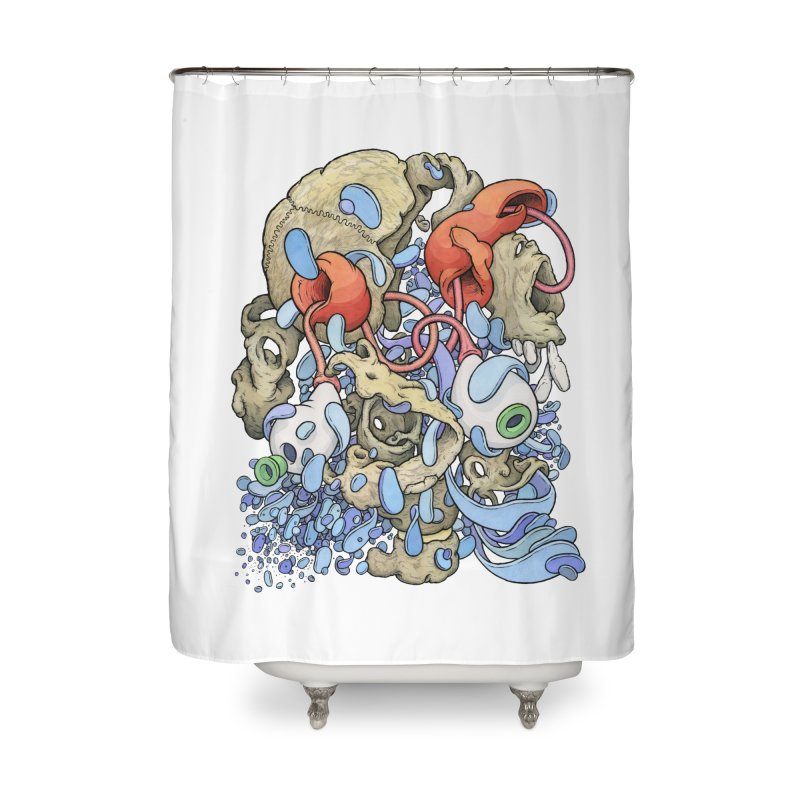 Blinky in Pacman's Stomach Home Shower Curtain by Scott Teplin's Chazerai Bazaar
