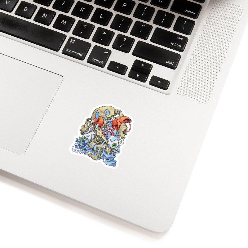 Blinky in Pacman's Stomach Accessories Sticker by Scott Teplin's Chazerai Bazaar