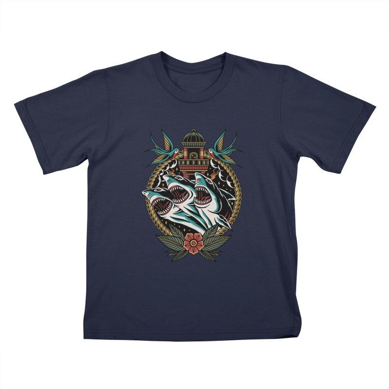 Shark Attack Kids T-Shirt by TerpeneTom's Artist Shop