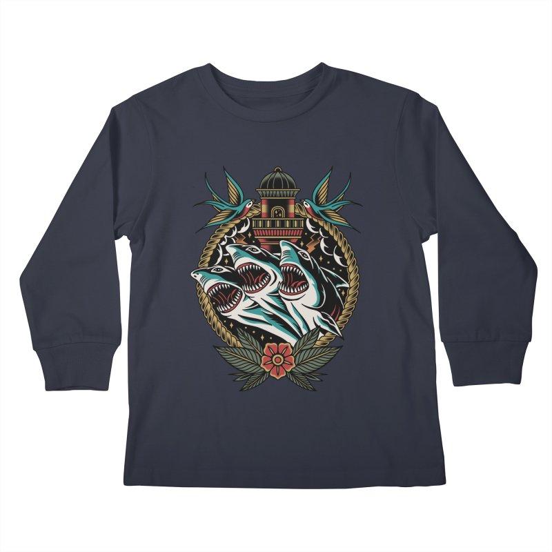 Shark Attack Kids Longsleeve T-Shirt by TerpeneTom's Artist Shop